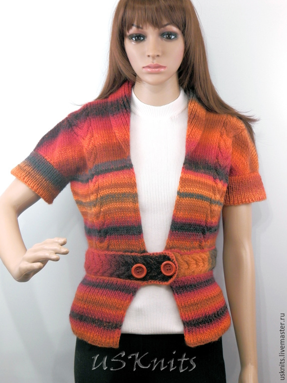 Knitted fitted jacket with short sleeves and peplum Yarn - 100% wool Jacket knitted jacket knitting bright knitted cardigan sweater button-down cardigan buttoned cardigan handmade