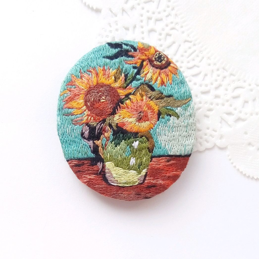 Brooch pendant based on the painting In van Gogh's Sunflowers, Brooches, Kemerovo,  Фото №1