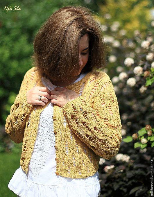 """Кофты и свитера ручной работы. Ярмарка Мастеров - ручная работа. Купить Жакет """"Sunny"""". Handmade. Желтый, желтый жакет, шёлк"""