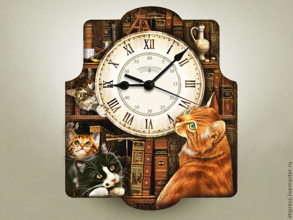 Декупаж часы с котами