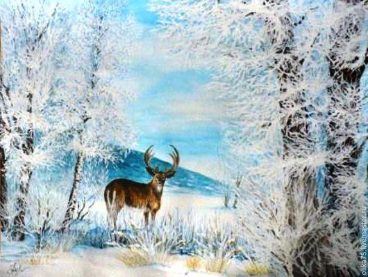 Пейзаж ручной работы. Ярмарка Мастеров - ручная работа. Купить Зима. Handmade. Голубой, пейзаж акварелью, живопись картины, акварель