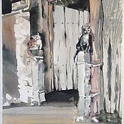 Картины и панно ручной работы. Ярмарка Мастеров - ручная работа Дом со львами акварель. Handmade.