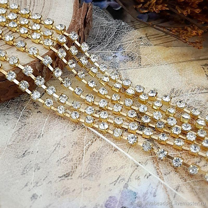 50cm Rhinestone chain 2mm Crystal gold (4022), Chains, Voronezh,  Фото №1