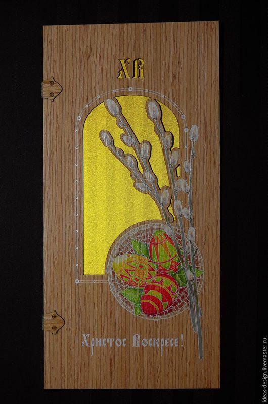 Деревянная Пасхальная эко-открытка `Верба`
