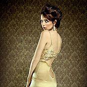 Одежда ручной работы. Ярмарка Мастеров - ручная работа Золотое платье с оригинальным вырезом на спине. Handmade.