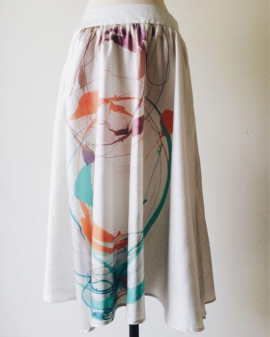 Одежда. Ярмарка Мастеров - ручная работа. Купить Шелковая юбка от Escada Sport. Handmade. Винтажная юбка, escada, хлопок
