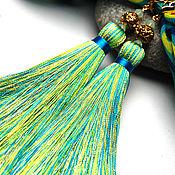 """Украшения ручной работы. Ярмарка Мастеров - ручная работа """"Тропикана"""" многоцветные серьги кисти на позолоченной фурнитуре. Handmade."""