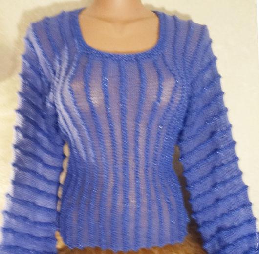 """Кофты и свитера ручной работы. Ярмарка Мастеров - ручная работа. Купить Джемпер """"синева"""". Handmade. Синий, вязаный джемпер"""
