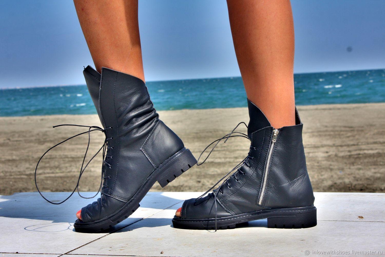 081b84cf4 Обувь ручной работы. Ярмарка Мастеров - ручная работа. Купить Летние сапоги  ботинки на шнуровке ...