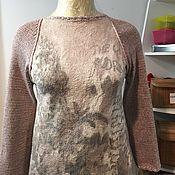 Одежда ручной работы. Ярмарка Мастеров - ручная работа Валяная туника с вязаными рукавами. Handmade.