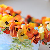 """Украшения ручной работы. Ярмарка Мастеров - ручная работа Венок """"Красный закат"""", желтые цветы, оранжевый. Handmade."""
