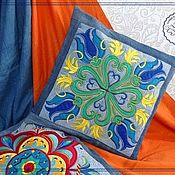 Для дома и интерьера handmade. Livemaster - original item Denim pillowcase
