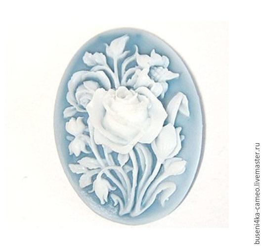 Для украшений ручной работы. Ярмарка Мастеров - ручная работа. Купить Камея Морозные цветы на голубом 30х40мм (пластик) 1шт.. Handmade.