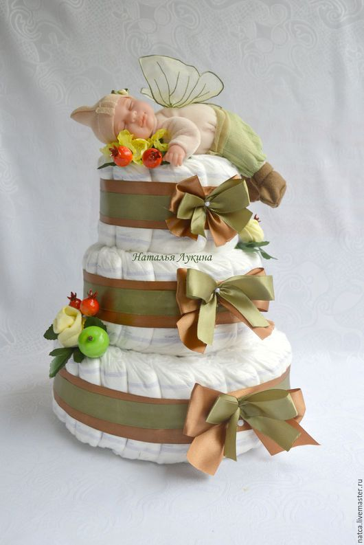 """Подарки для новорожденных, ручной работы. Ярмарка Мастеров - ручная работа. Купить Торт из памперсов  """"Лесной эльф"""". Handmade. Хаки"""