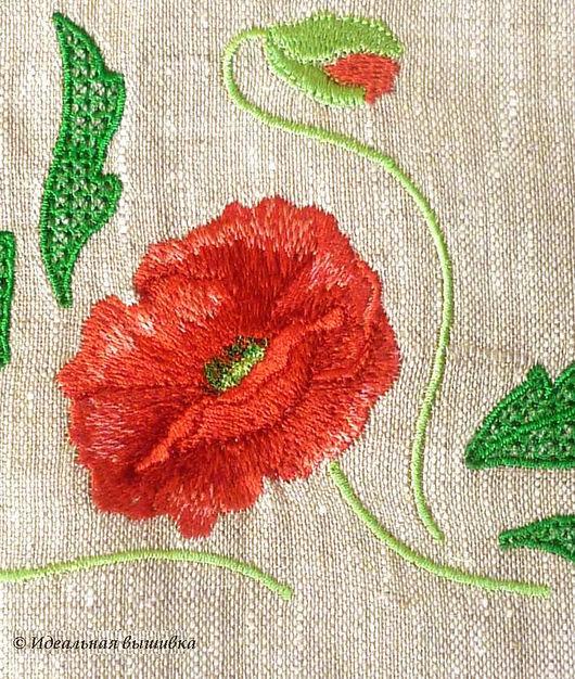 """Текстиль, ковры ручной работы. Ярмарка Мастеров - ручная работа. Купить Комплект д/кофе """"Мак"""". Handmade. Мак, льняная скатерть"""