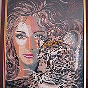 """Картины и панно ручной работы. Ярмарка Мастеров - ручная работа """"Девушка с тигром"""". Handmade."""