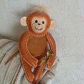 """Куклы и игрушки ручной работы. Ярмарка Мастеров - ручная работа обезьянка """"рыжик"""" из натуральной кожи. Handmade."""