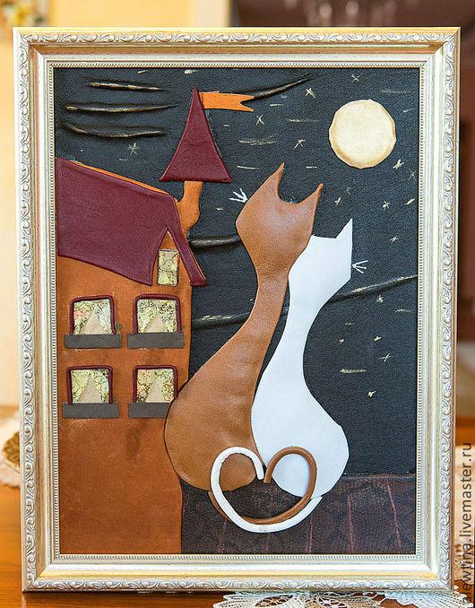 Животные ручной работы. Ярмарка Мастеров - ручная работа. Купить Коты на крыше. Весна.. Handmade. Кожа натуральная, коты и кошки