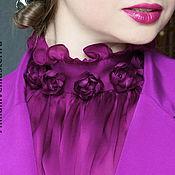 Одежда ручной работы. Ярмарка Мастеров - ручная работа Шёлковая блузка  цвета фуксии с цветами. Handmade.