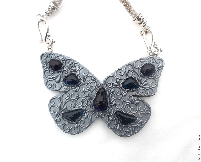 украшение бабочка, крупная бабочка, кулон бабочка, купить кулон ручной работы