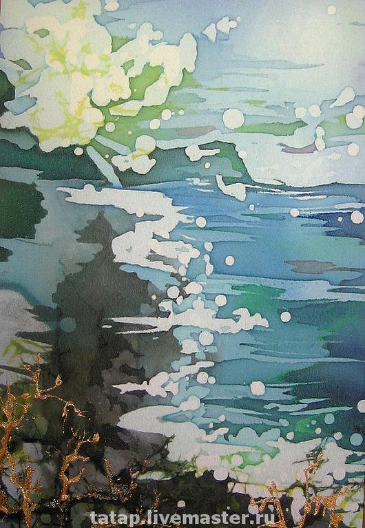 Пейзаж ручной работы. Ярмарка Мастеров - ручная работа. Купить Морская даль. Handmade. Море, берег, облака, морской пейзаж