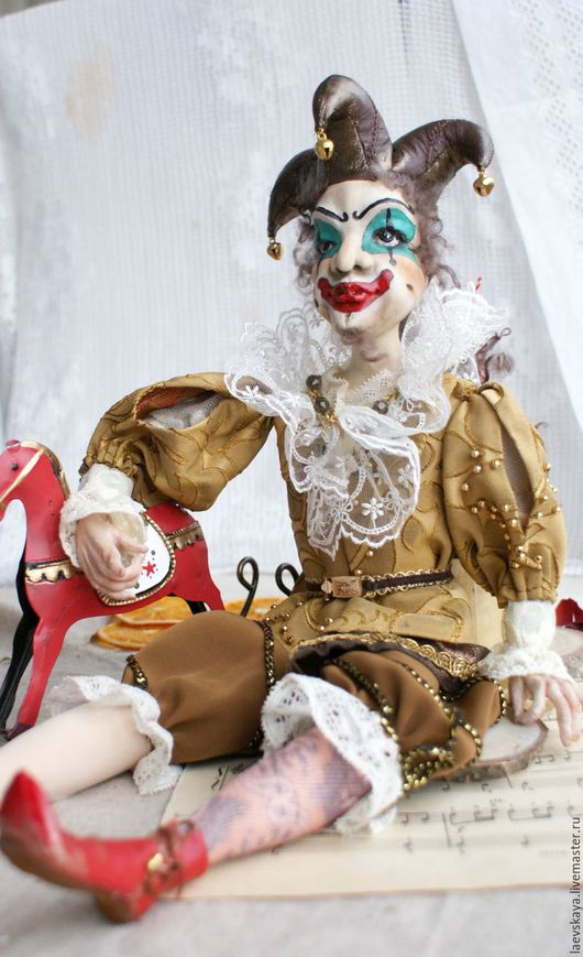 Коллекционные куклы ручной работы. Ярмарка Мастеров - ручная работа. Купить Клоун, паяц. Handmade. Коричневый, единственный экземпляр