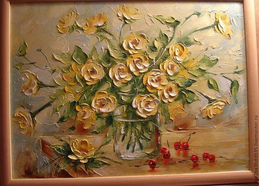 Картины цветов ручной работы. Ярмарка Мастеров - ручная работа. Купить желтые цветы. Handmade. Желтый, картина, картина в подарок