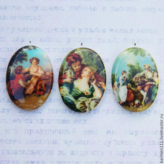 Для украшений ручной работы. Ярмарка Мастеров - ручная работа. Купить Винтажные кабошоны-камеи из фарфора - сцены Ренессанса (25х18мм). Handmade.
