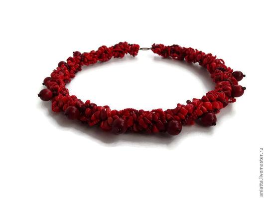 """Колье, бусы ручной работы. Ярмарка Мастеров - ручная работа. Купить Колье """"Винные ягоды"""". Handmade. Ярко-красный, колье"""
