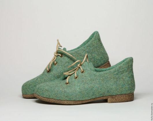 """Обувь ручной работы. Ярмарка Мастеров - ручная работа. Купить Валяные туфли для улицы или помещений """"Мохито"""". Handmade. Мятный"""