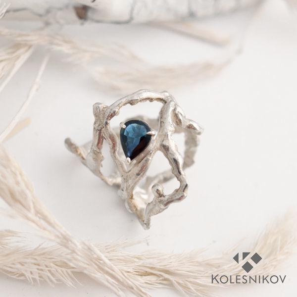 Wild forest silver ring, sapphire, Rings, Yaroslavl,  Фото №1