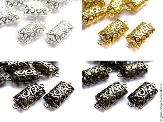 Для украшений ручной работы. Ярмарка Мастеров - ручная работа. Купить Коннектор филигранный, серебро, золото, медь, бронза, черный. Handmade.