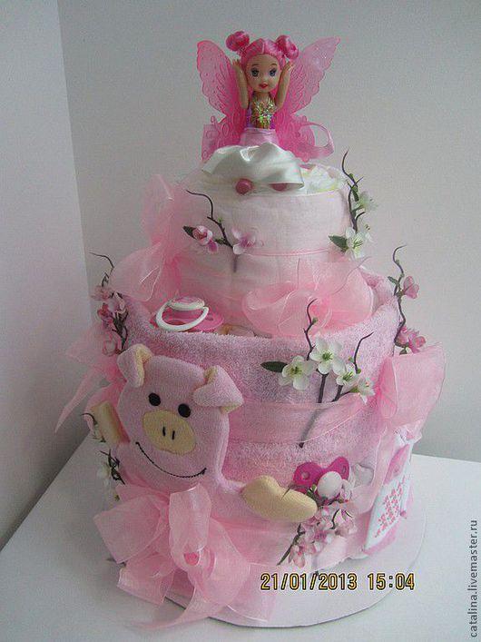"""Подарки для новорожденных, ручной работы. Ярмарка Мастеров - ручная работа. Купить Торт из подгузников """"Розовый эльф"""". Handmade. Розовый, соски"""