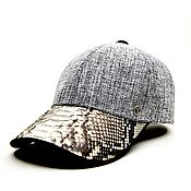 Аксессуары handmade. Livemaster - original item Baseball caps made of genuine Python and tweed leather, custom made.. Handmade.