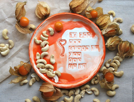 """Тарелки ручной работы. Ярмарка Мастеров - ручная работа. Купить Тарелка """"Мечта"""". Handmade. Рыжий, Керамика, тарелка"""