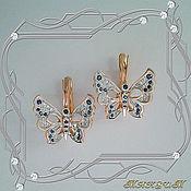 Украшения handmade. Livemaster - original item Butterfly earrings gold 585, diamonds, sapphires. Handmade.