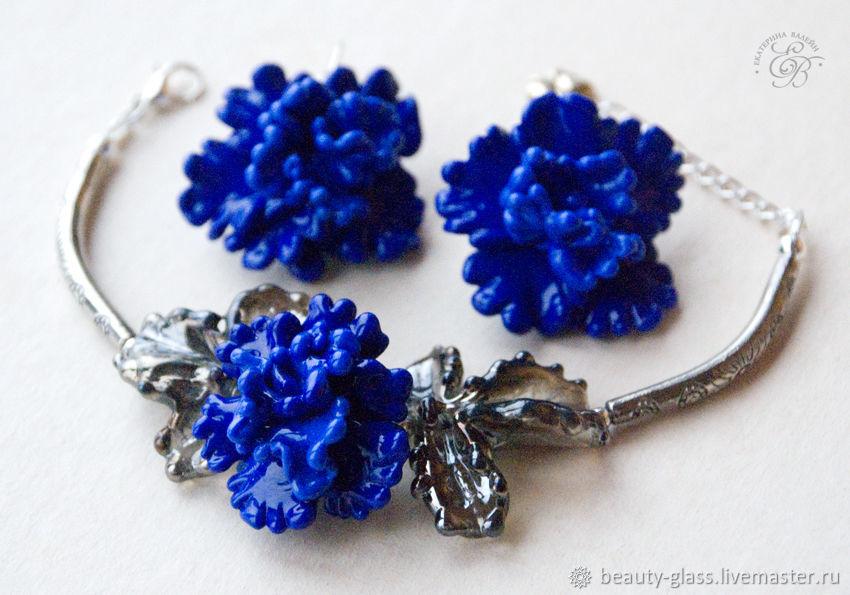 'Cornflowers ' earrings and bracelet lampwork flowers glass, Jewelry Sets, St. Petersburg,  Фото №1