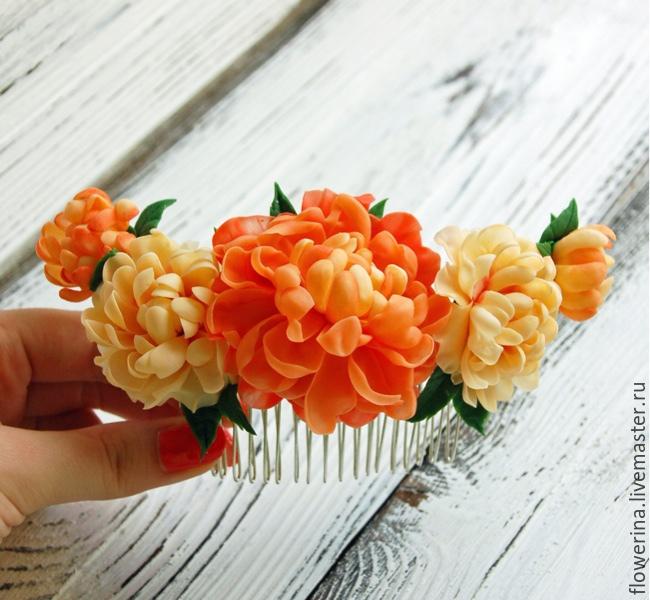 Barrettes Handmade. Livemaster   Handmade. Buy Comb With Peach Peonies Buy .Comb,