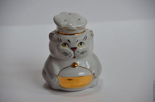 Винтажная посуда. Ярмарка Мастеров - ручная работа. Купить Фарфоровая солонка-кошка.-поваренок  винтаж 90-е. Handmade. Белый