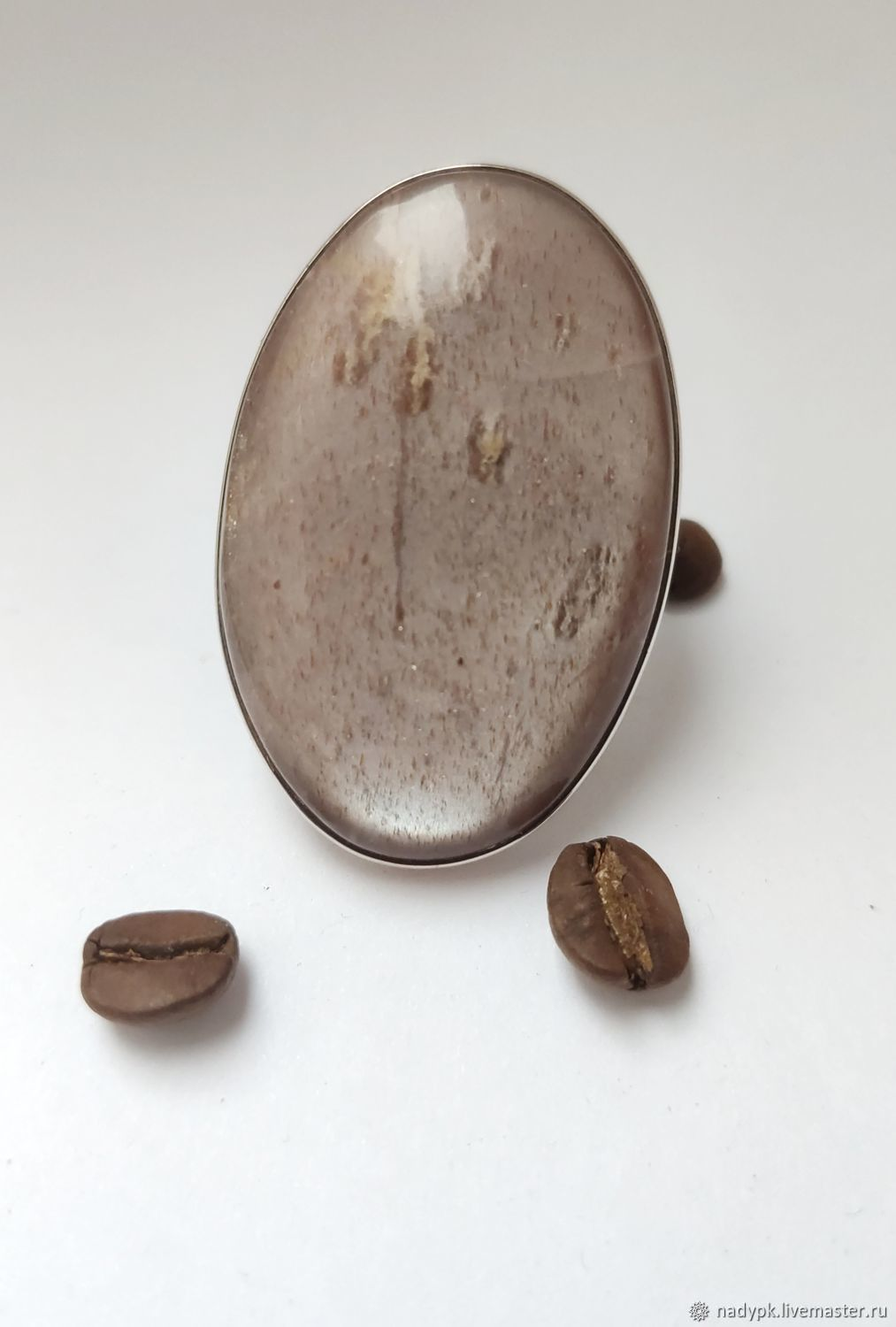 Moonstone ring 'Cocoa with milk', silver, Rings, Moscow,  Фото №1