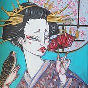 Картины и панно ручной работы. Ярмарка Мастеров - ручная работа Сакура за окном. Handmade.