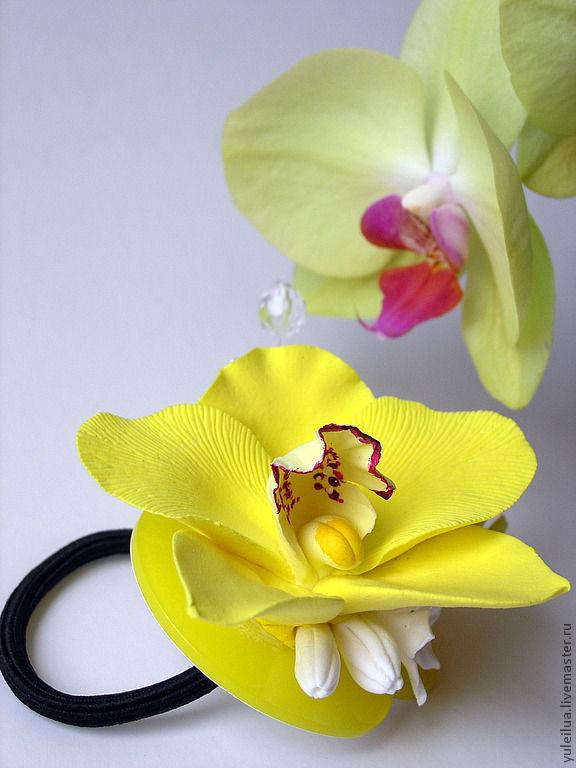 """Заколки ручной работы. Ярмарка Мастеров - ручная работа. Купить Резинка для волос """"Желтая орхидея"""". Handmade. Орхидеи, резинка"""