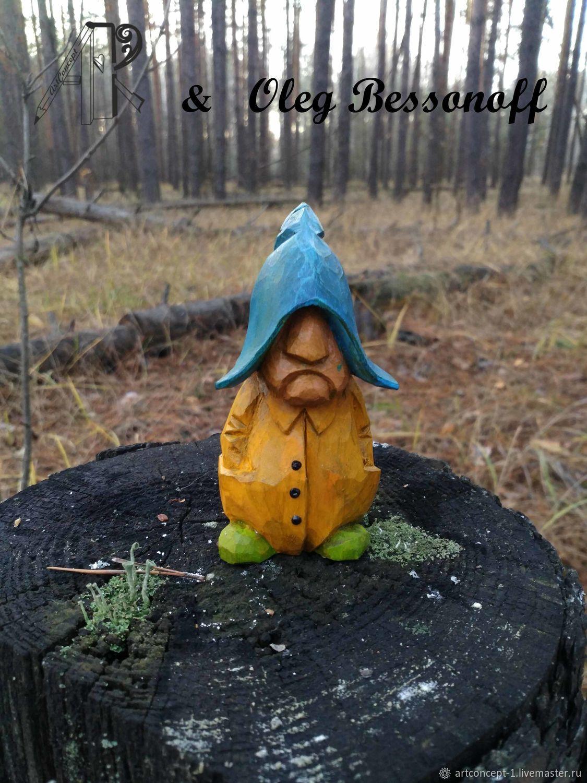 Figurine miniature of wood carved Fisherman. Christmas toy wooden, Miniature figurines, Ryazan,  Фото №1