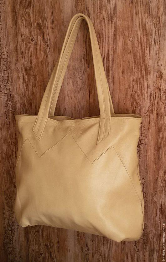 Женские сумки ручной работы. Ярмарка Мастеров - ручная работа. Купить Большая сумка-шоппер бежевого цвета. Handmade. Бежевый