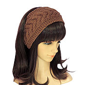 Аксессуары handmade. Livemaster - original item Headband with a braid, knitted hair Cocoa. Handmade.