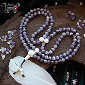 Фен-шуй и эзотерика handmade. Livemaster - original item Buddhist rosary of amethyst and cacholong, 108 beads, Mahakala knot. Handmade.