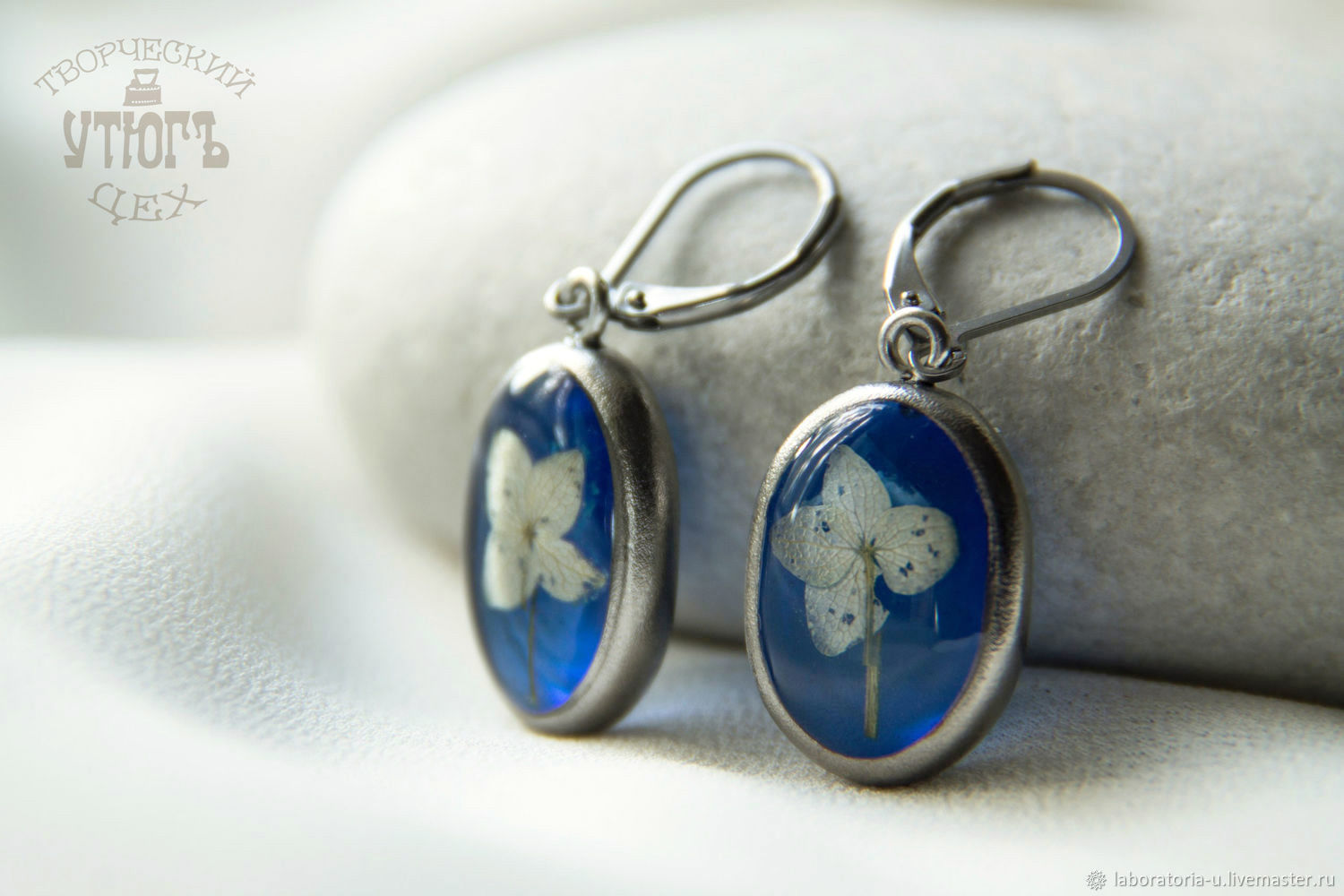 Blue titanium ring and earrings resin jewelry with real flowers, Jewelry Sets, Samara,  Фото №1