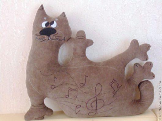 Текстиль, ковры ручной работы. Ярмарка Мастеров - ручная работа. Купить Музыкальный котик. Handmade. Кот, подушка с вышивкой, котик