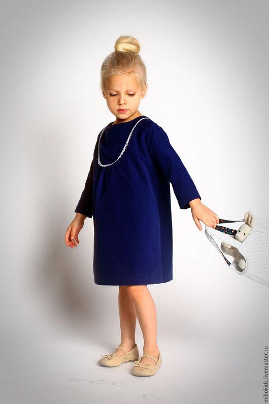 Одежда для девочек, ручной работы. Ярмарка Мастеров - ручная работа. Купить Нежный вельвет. Handmade. Фиолетовый, платье шитое, синий