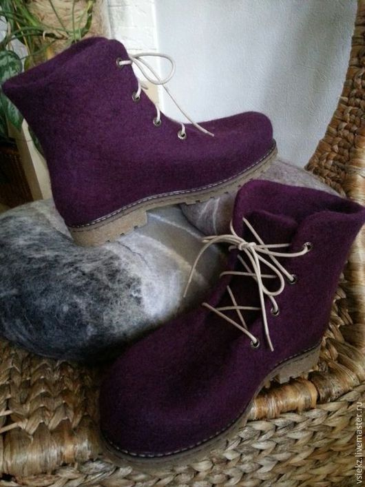 Обувь ручной работы. Ярмарка Мастеров - ручная работа. Купить Ботинки зимние. Handmade. Бордовый